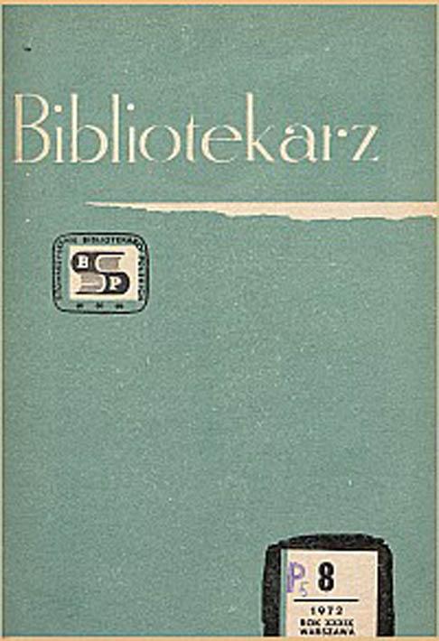 Okładka Bibliotekarz 1972, nr 8