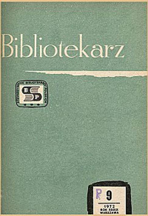 Okładka Bibliotekarz 1972, nr 9