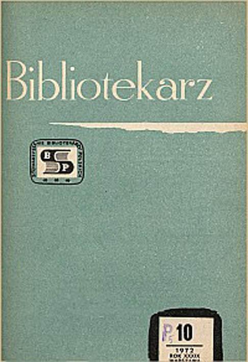 Okładka Bibliotekarz 1972, nr 10