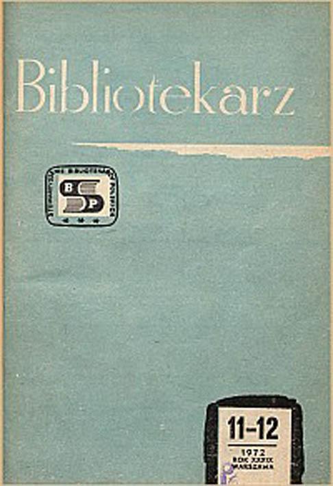 Okładka Bibliotekarz 1972, nr 11-12