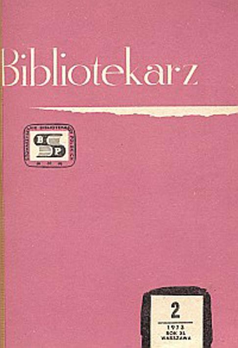 Okładka Bibliotekarz 1973, nr 2