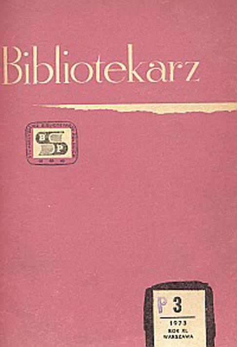 Okładka Bibliotekarz 1973, nr 3