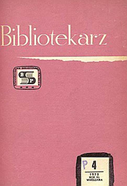 Okładka Bibliotekarz 1973, nr 4