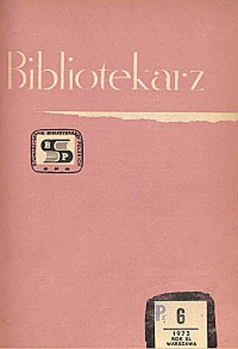 Okładka Bibliotekarz 1973, nr 6