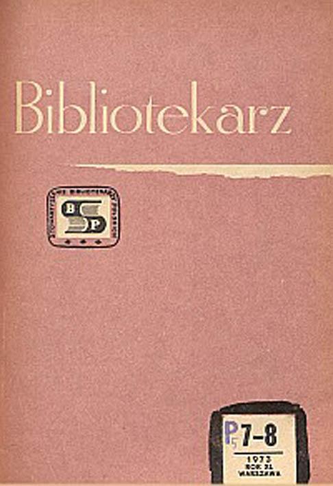 Okładka Bibliotekarz 1973, nr 7-8