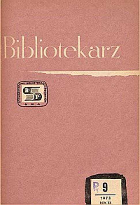 Okładka Bibliotekarz 1973, nr 9