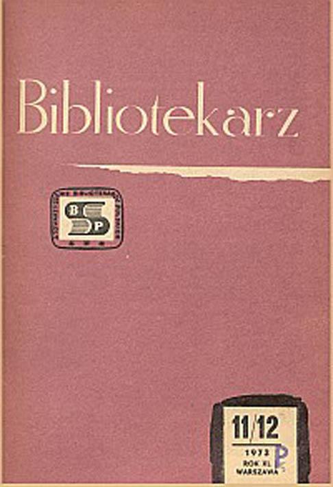Okładka Bibliotekarz 1973, nr 11-12