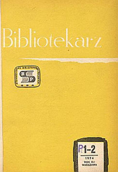 Okładka Bibliotekarz 1974, nr 1-2