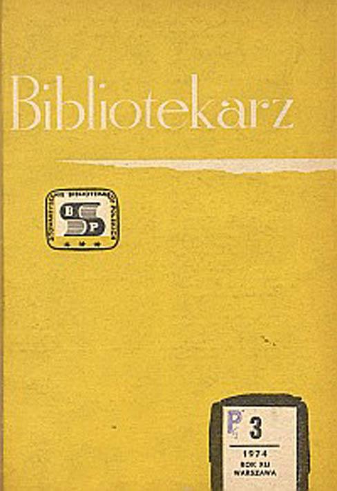 Okładka Bibliotekarz 1974, nr 3