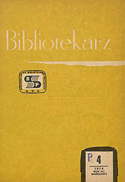 Okładka Bibliotekarz 1974, nr 4