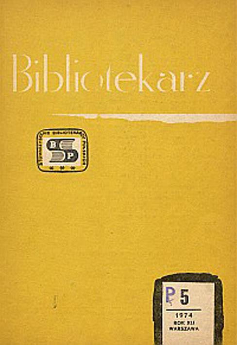 Okładka Bibliotekarz 1974, nr 5