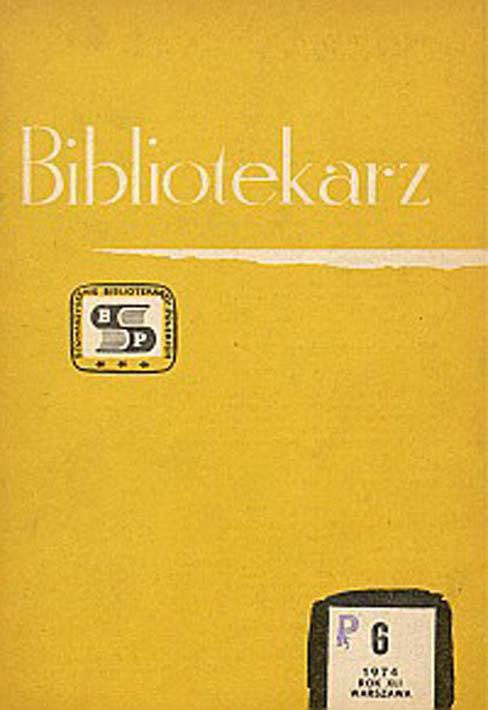 Okładka Bibliotekarz 1974, nr 6