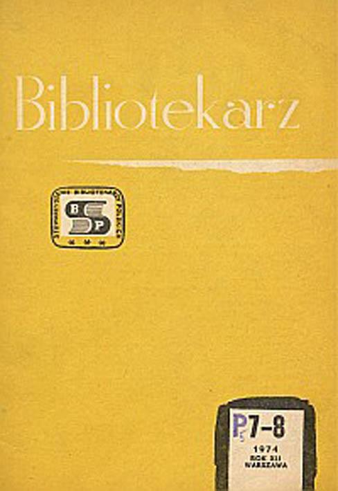 Okładka Bibliotekarz 1974, nr 7-8
