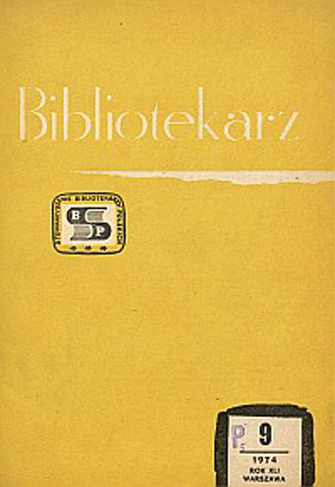 Okładka Bibliotekarz 1974, nr 9
