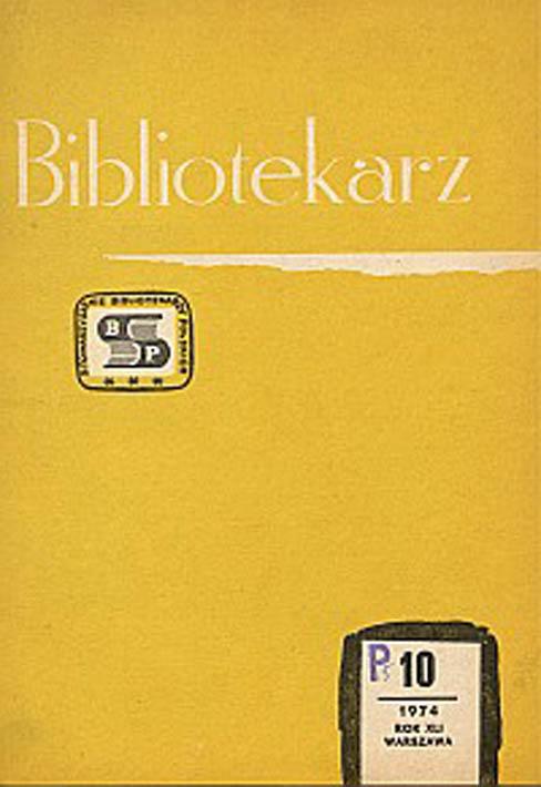 Okładka Bibliotekarz 1974, nr 10