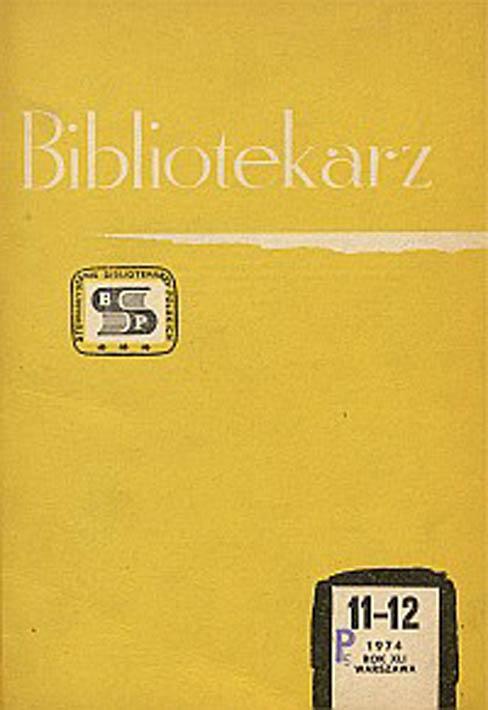 Okładka Bibliotekarz 1974, nr 11-12