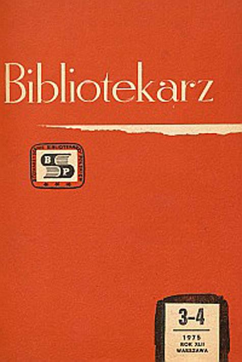 Okładka Bibliotekarz 1975, nr 3-4