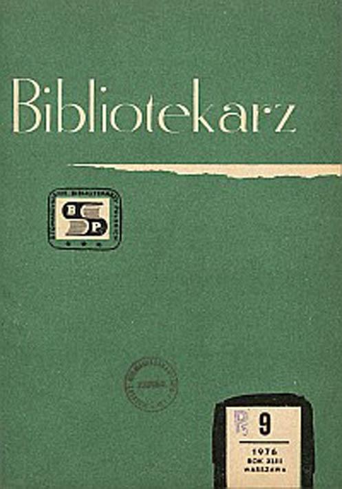 Okładka Bibliotekarz 1976, nr 9