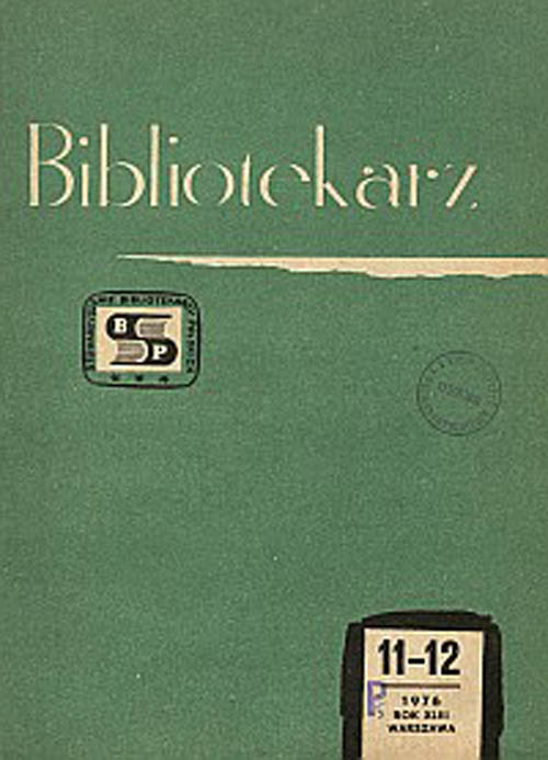 Okładka Bibliotekarz 1976, nr 11-12