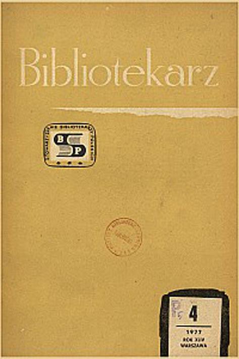 Okładka Bibliotekarz 1977, nr 4