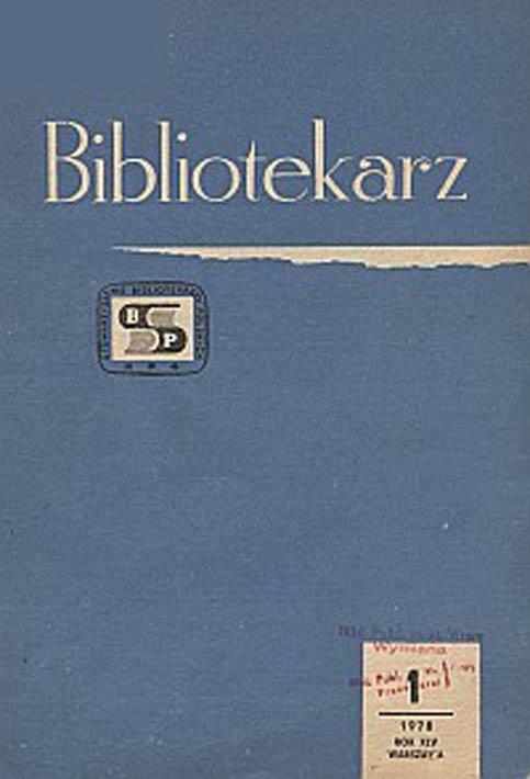 Okładka Bibliotekarz 1978, nr 1