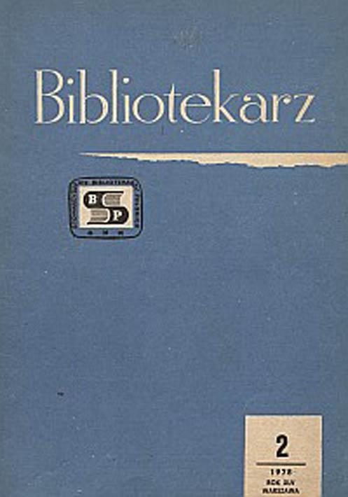 Okładka Bibliotekarz 1978, nr 2