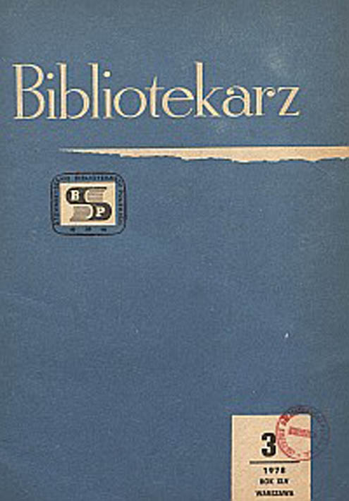 Okładka Bibliotekarz 1978, nr 3