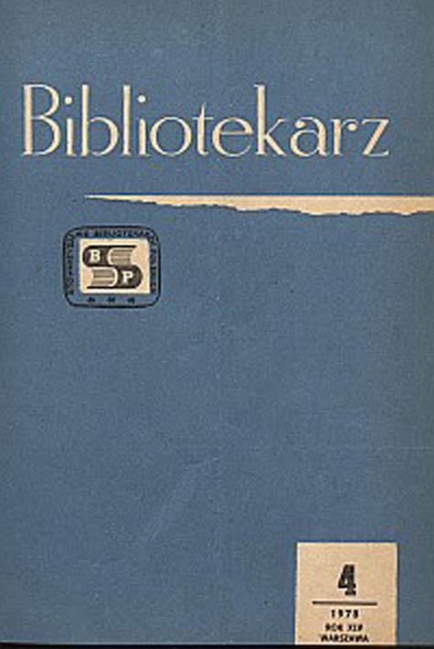 Okładka Bibliotekarz 1978, nr 4