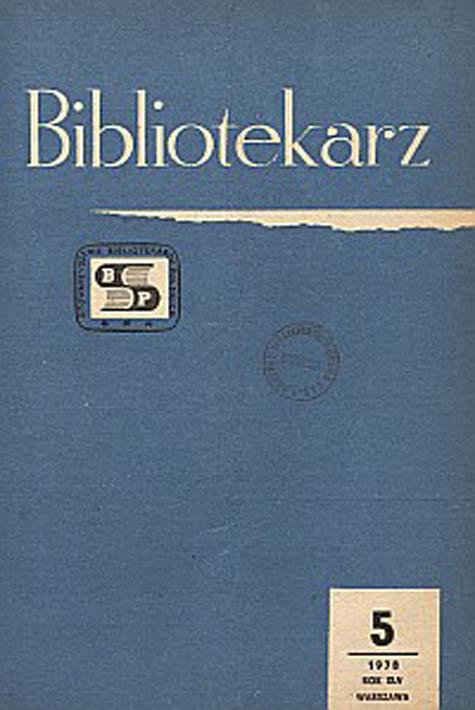 Okładka Bibliotekarz 1978, nr 5
