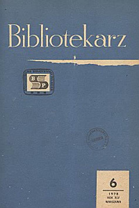Okładka Bibliotekarz 1978, nr 6