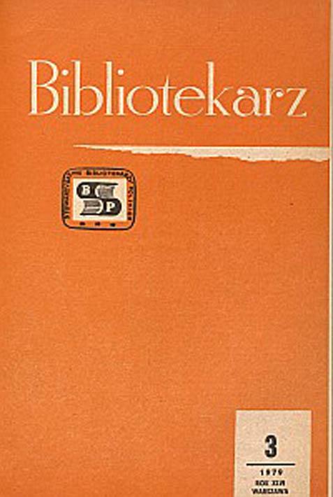 Okładka Bibliotekarz 1979, nr 3