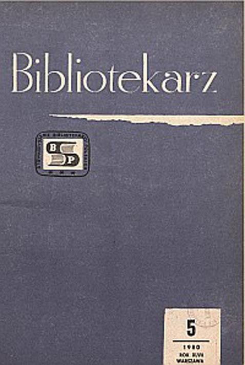 Okładka Bibliotekarz 1980, nr 5