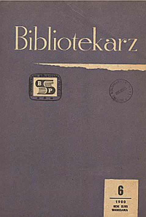 Okładka Bibliotekarz 1980, nr 6