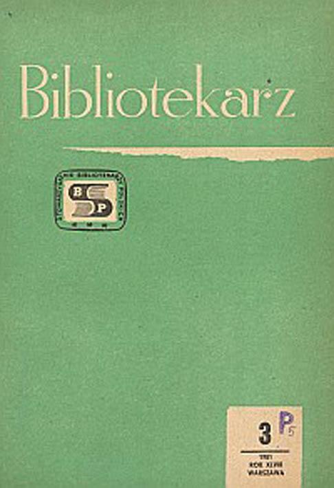 Okładka Bibliotekarz 1981, nr 3