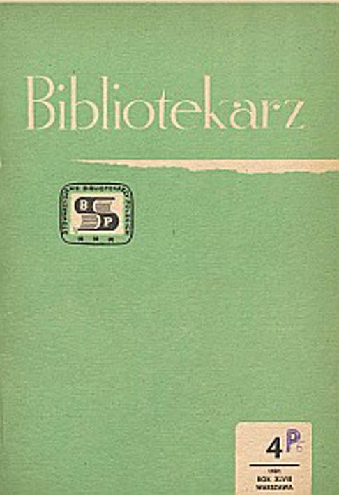 Okładka Bibliotekarz 1981, nr 4