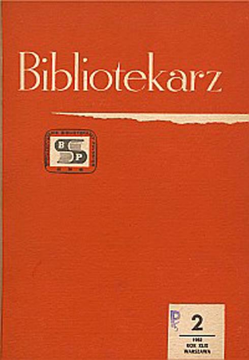 Okładka Bibliotekarz 1982, nr 2