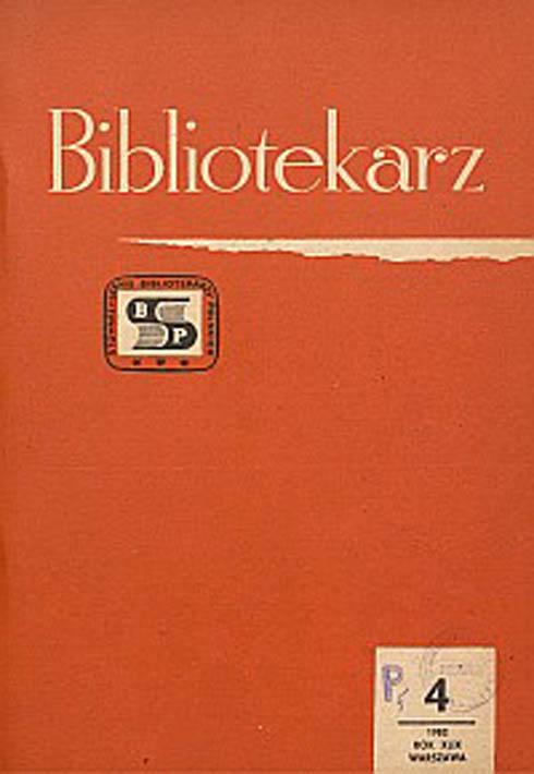 Okładka Bibliotekarz 1982, nr 4