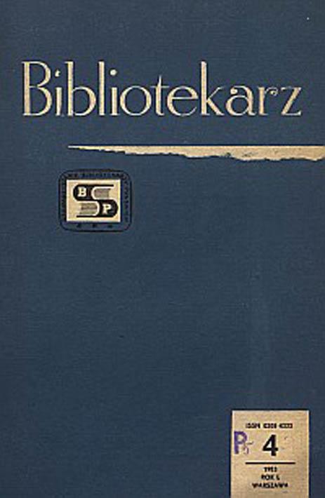 Okładka Bibliotekarz 1983, nr 4