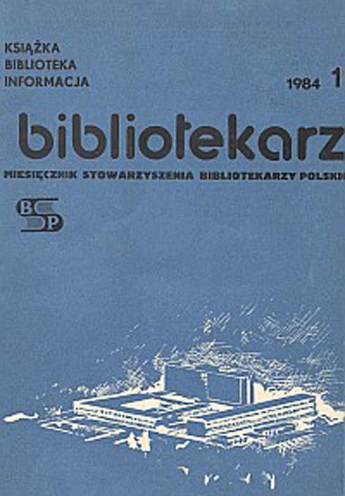 Okładka Bibliotekarz 1984, nr 1