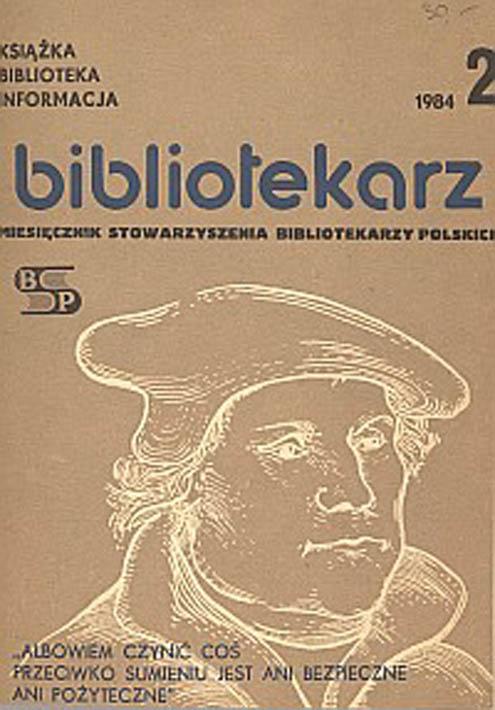 Okładka Bibliotekarz 1984, nr 2