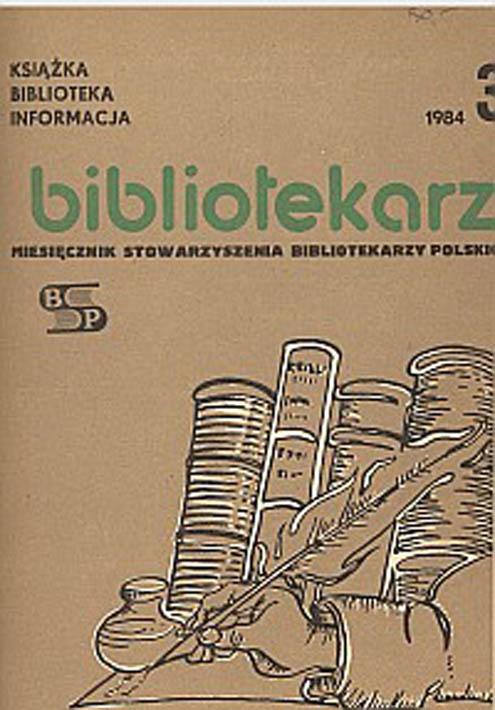 Okładka Bibliotekarz 1984, nr 3