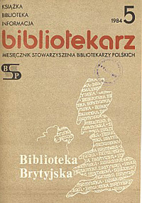 Okładka Bibliotekarz 1984, nr 5