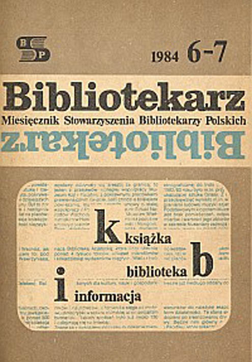 Okładka Bibliotekarz 1984, nr 6-7