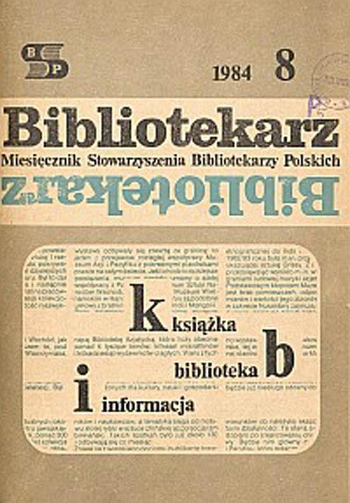 Okładka Bibliotekarz 1984, nr 8