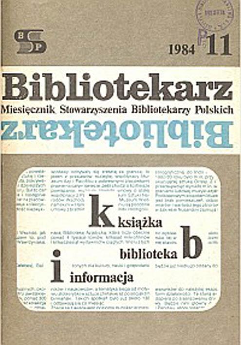 Okładka Bibliotekarz 1984, nr 11