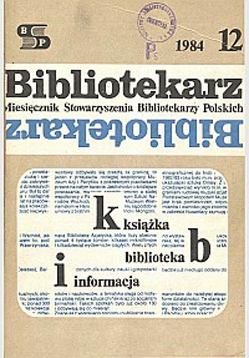 Okładka Bibliotekarz 1984, nr 12