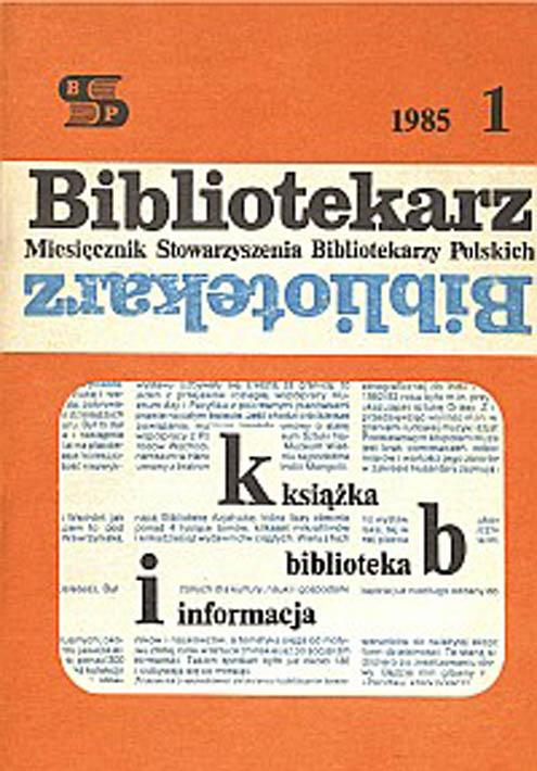 Okładka Bibliotekarz 1985, nr 1
