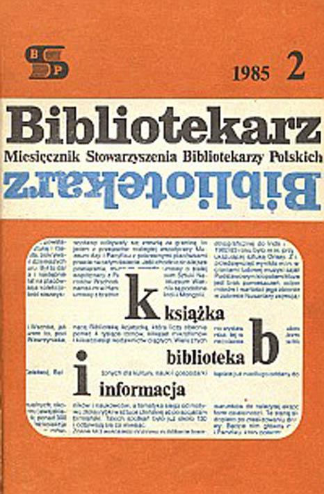 Okładka Bibliotekarz 1985, nr 2