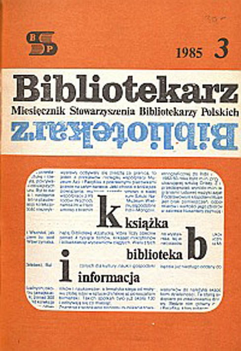 Okładka Bibliotekarz 1985, nr 3