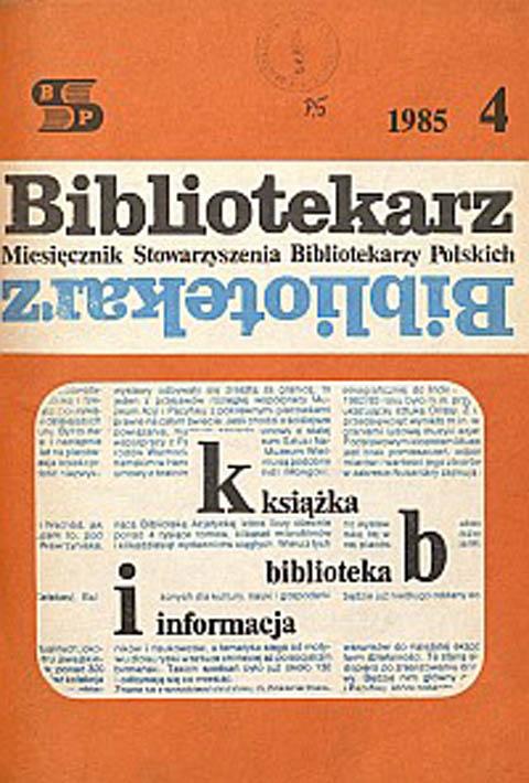Okładka Bibliotekarz 1985, nr 4